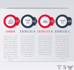 4 steps infographic elements, with line exercise icons, vector illustration, eps10, easy to edit