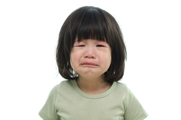 Close up of cute asian baby crying