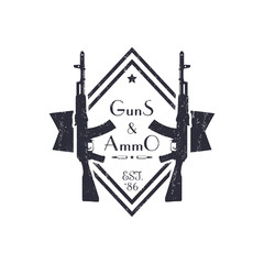 guns and ammo, vintage grunge logo with automatic rifle, vector illustration, eps10, easy to edit