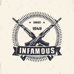 infamous since 1949, vintage grunge emblem, sign, t-shirt design vector illustration, eps10