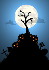 Vector : Halloween background with tree grave and pumpkins