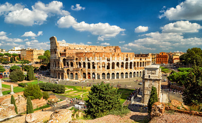 Fototapete - Panoramic view the Colosseum (Coliseum) in Rome