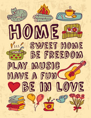 Home family relations icons color feelings poster