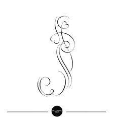 Calligraphic letter. Abstract font