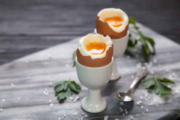 Boiled eggs on marble background