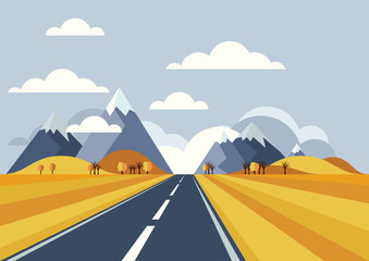 Vector landscape background. Road in golden yellow wheat field,