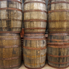 Six wooden barrel