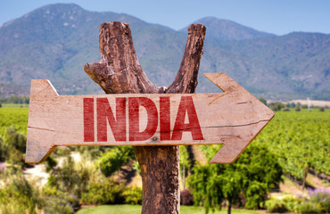 India wooden sign with winery background