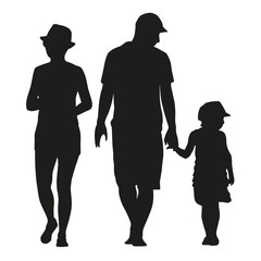 Vector silhouette of a family with a small child