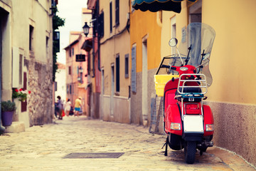 Scooter on the Street of Mediterranean Town