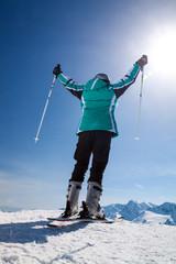skier on snow hill, Solden, Austria, extreme winter sport