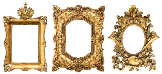Baroque style golden picture frame isolated on white background