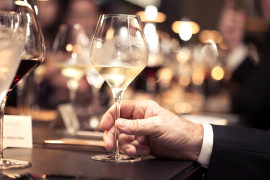 white wine on hand with dinner on restaurant