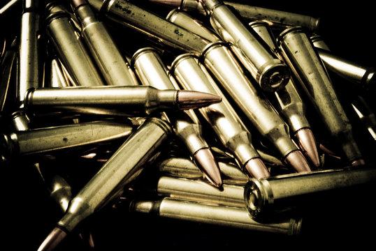 Pile of 5.56 (223) Rifle Ammunition