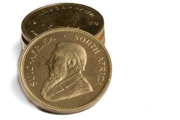Stack of 1oz Gold Krugerrand Coins