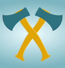 The crossed axes icon. Axe and hack symbol.