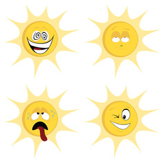 Collection of four colored, cute sun character icons