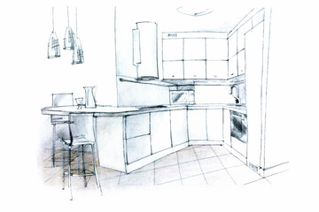 hand sketching of a kitchen interior