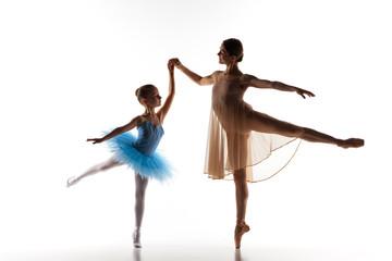 The little ballerina dancing with personal ballet teacher in
