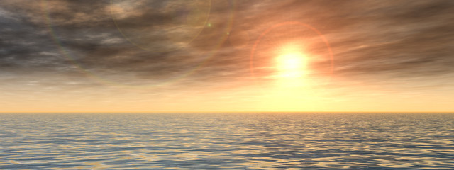 Conceptual sea water and sunset sky banner