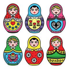 Matryoshka, Russian doll colorful icons set