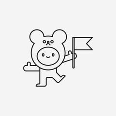 bear costume line icon