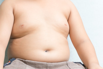 abdominal surface of asian fat boy