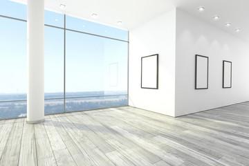 Leerer Raum mit Spots mit Hintergrund