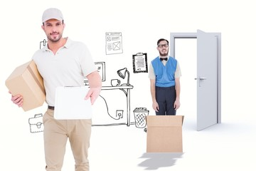 Composite image of delivery man with cardboard box
