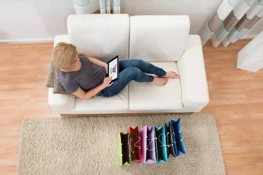 Woman Shopping Online With Digital Tablet