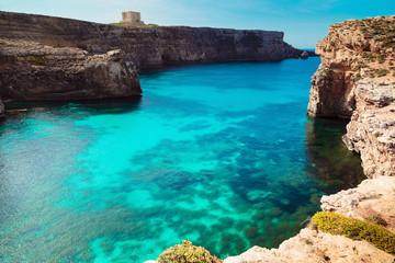 Aluminium Prints Cyprus The Blue Lagoon on Comino Island, Malta Gozo