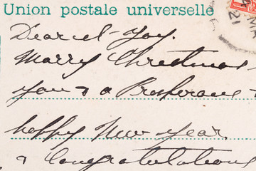 Postcard with characteristic handwriting