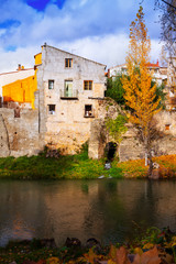 Autumn picturesque view of old houses