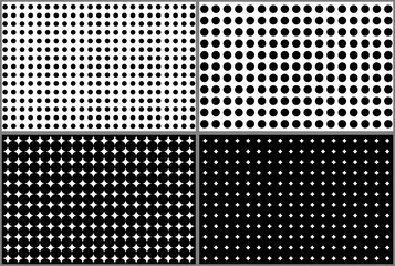 Dotted halftone patterns backgrounds set
