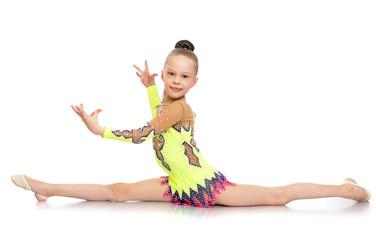Girl gymnast doing the splits