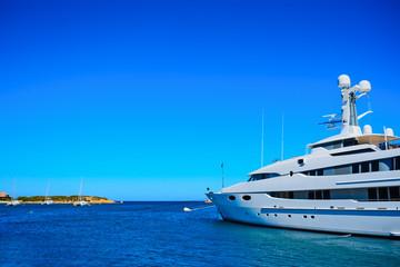 luxury yacht in Porto Cervo harbor