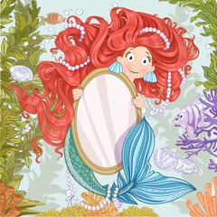 Cute mermaid with flowing long hair holding a big vertical mirro