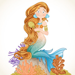 Lovely mermaid combing her long hair