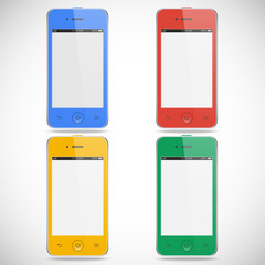 set of realistic detailed colored smartphones with touch screen