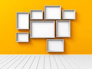 Set Of Picture Photoframe On Orange Wall