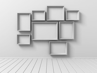 Set Of Picture Photo Frames On The Wall