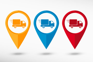 Fast delivery service icon  map pointer, vector illustration
