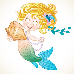 Cute little mermaid holding a shell