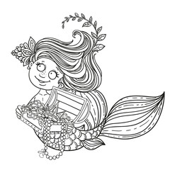 Cute little mermaid holding a treasure Chest outlined