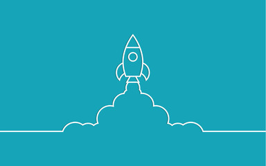 rocket and cloud flat style isolated