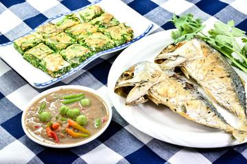Obraz Thai food, spicy shrimp Shrimp Paste (Nam Prik Ka Pi) - fototapety do salonu