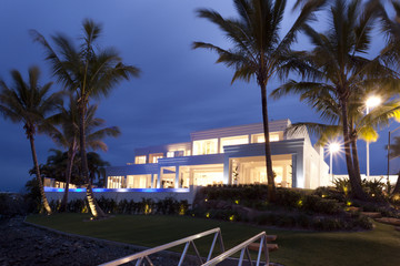 White villa at night