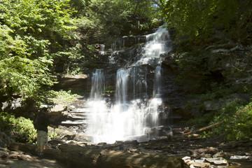 Ganoga Falls, Ricketts Glen State Park with hiker