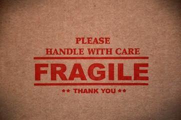 Fragile warning sign label