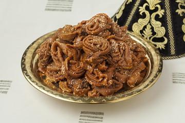 Decoration tajine with fresh baked chebakia